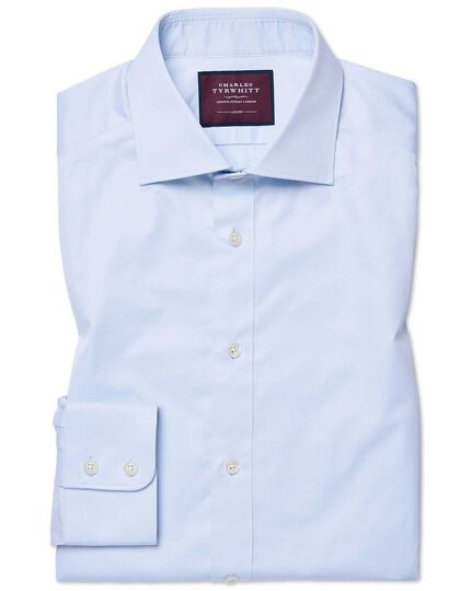 Slim fit sky blue luxury twill shirt