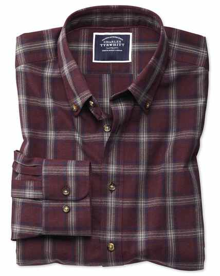 Classic fit burgundy and blue check herringbone melange shirt