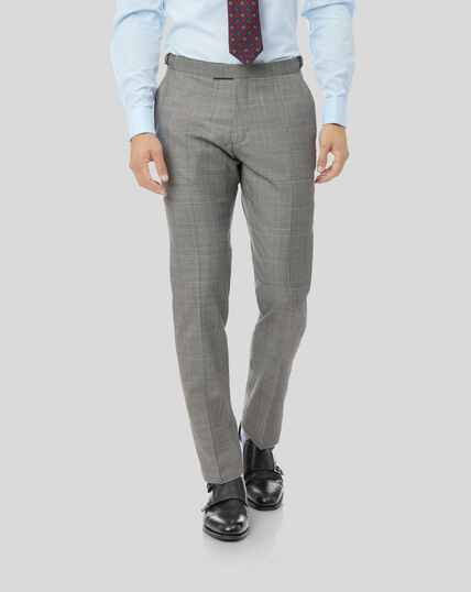 Prince of Wales Check British Luxury Suit Trousers - Grey