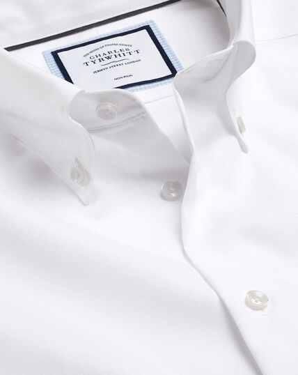 Bügelfreies Hemd mit Button-down-Kragen - Weiß