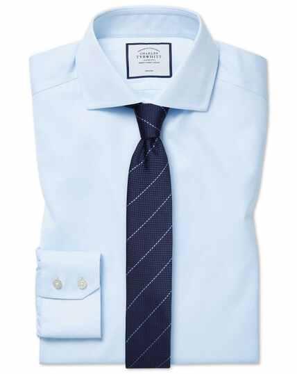 Slim fit cutaway collar non-iron cotton stretch light blue shirt