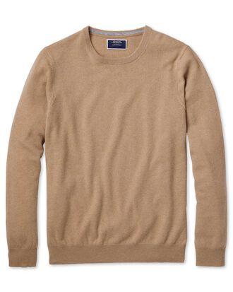 Tan crew neck cashmere jumper