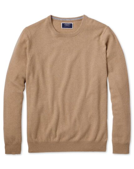 Tan crew neck cashmere sweater