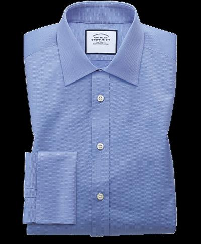 Extra Slim Fit Hemd aus ägyptischer Baumwolle mit Gitterstruktur in Mittelblau