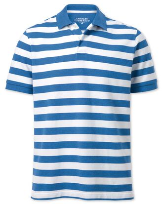 2for69 Jerseyroundel Blue And White Stripe Melange Pique Polo