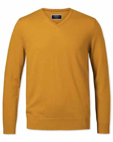 Gold merino v-neck jumper