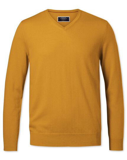 Gold merino v-neck jumper