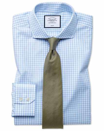 Bügelfreies Extra Slim Fit Tyrwhitt Cool Hemd mit Karos in Himmelblau