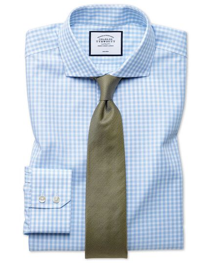 Extra slim fit non-iron sky blue check Tyrwhitt Cool shirt
