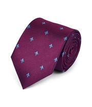Schmutzabweisende klassische Krawatte mit heraldischen Lilien in Burgunderrot & Himmelblau