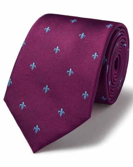 Bordeauxrood/hemelsblauwe vlekbestendige stropdas met klassiek Fleur-de-Lys-dessin