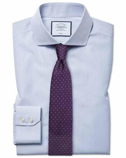 Hemelsblauw, strijkvrij gestreept natuurlijk fris overhemd met slanke pasvorm