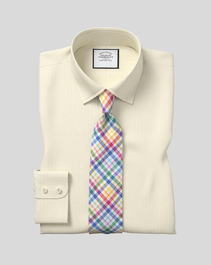 Classic Collar Egyptian Cotton Herringbone Shirt - Yellow
