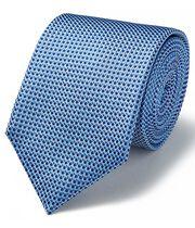 Blue and white silk tonal semi plain classic tie