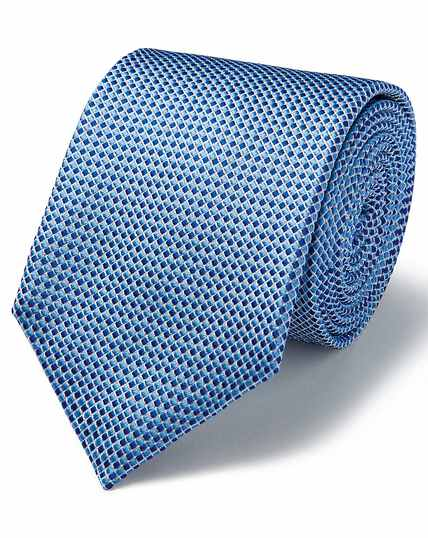 Blue and white silk tonal semi plain classic tie