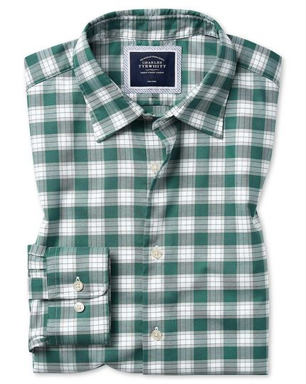Classic fit soft washed non-iron stretch Oxford green and white check shirt