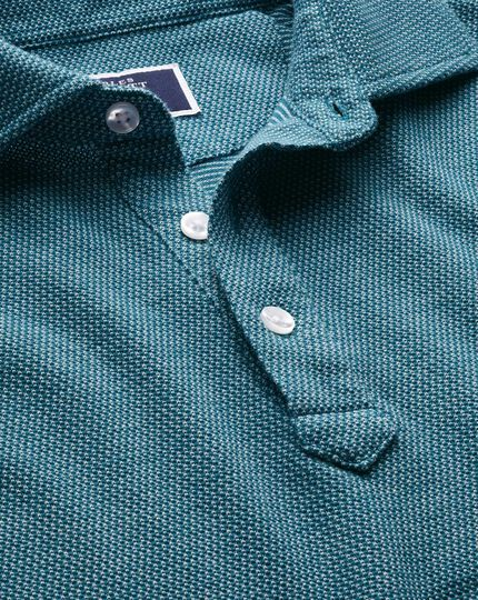 Teal and white birdseye polo