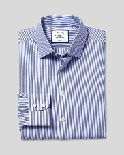 Bügelfreies Hemd mit Bengal-Streifen - Marineblau
