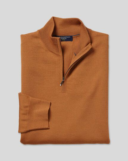 Merino Zip Neck Jumper - Orange