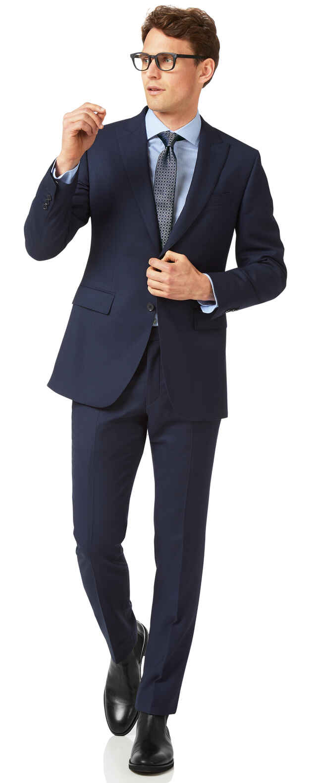 Ink blue slim fit birdseye peak travel suit