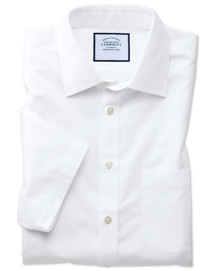 Slim fit non-iron poplin short sleeve white shirt