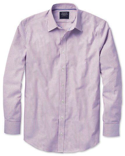 Chemise violette oxford à rayures Bengale slim fit sans repassage