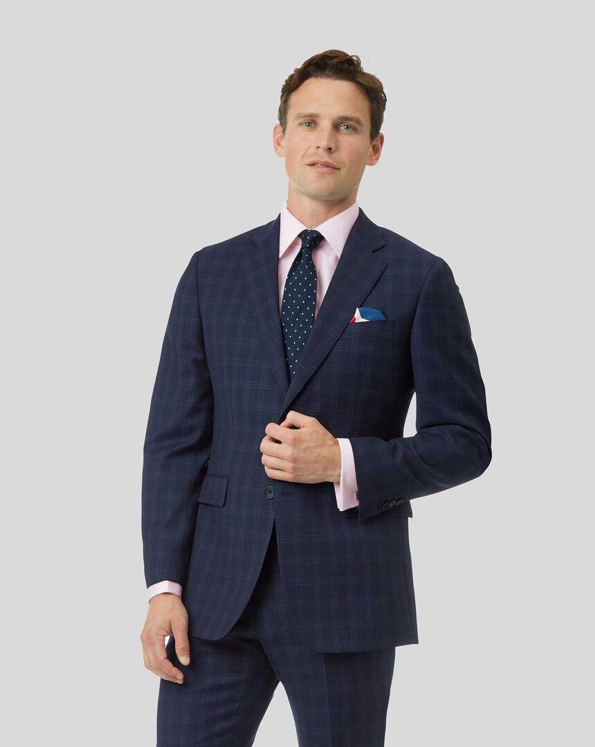 Check Birdseye Travel Suit Jacket - Navy