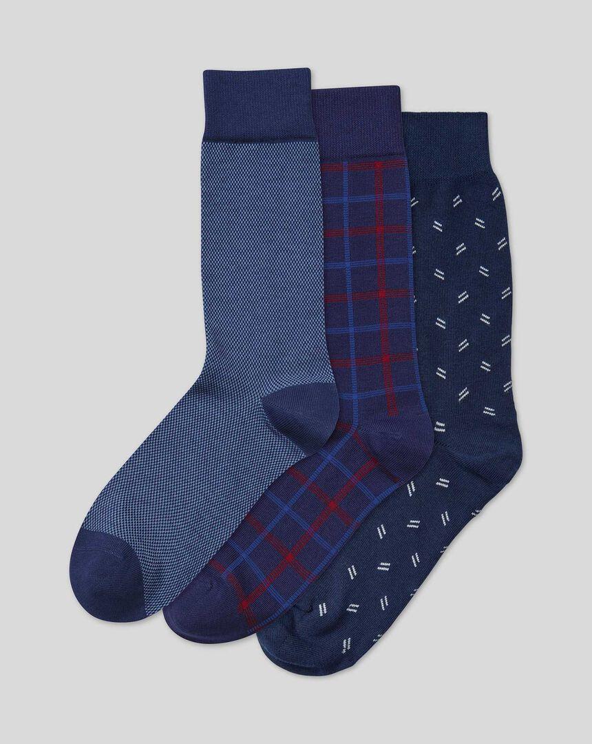 Multi Pattern 3 Pack Socks - Navy