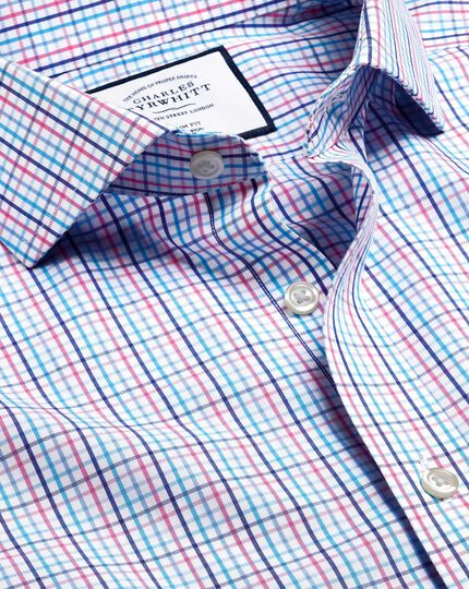 Spread Collar Non-Iron Tyrwhitt Cool Poplin Check Shirt - Blue & Pink