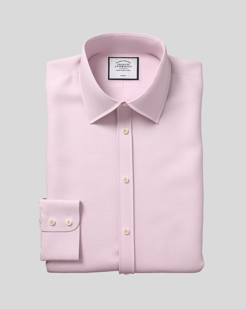 Bügelfreies Hemd mit Kent-Kragen und Mini-Fischgrätmuster - Rosa