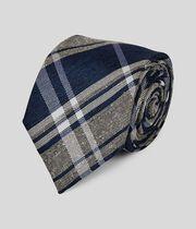 Klassische Krawatte aus Seide & Leinen mit Karos - Blau & Marineblau