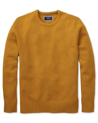 Dark yellow crew neck Donegal merino jumper