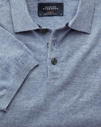 Sky blue heather short sleeve polo collar sweater