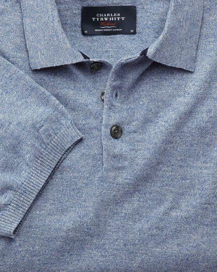 Sky blue heather short sleeve polo collar jumper