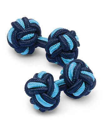Sky blue and navy knot cufflinks