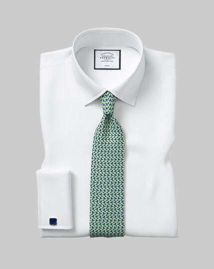 Hummingbird Silk Print Classic Tie - Green & Navy
