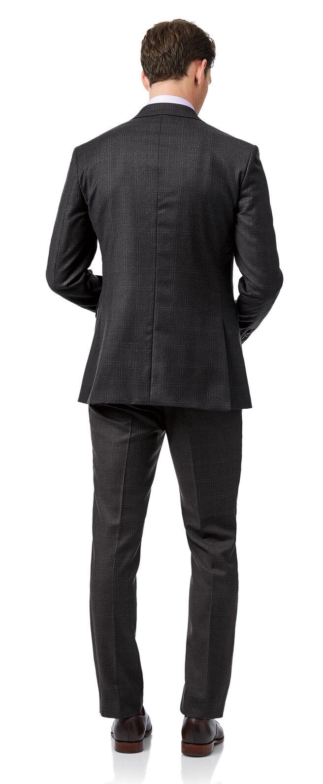 Pantalon Travel gris œil-de-perdrix à carreaux slim fit
