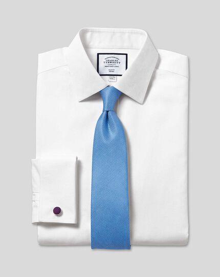 Classic Collar Non-Iron Mini Herringbone Shirt - White