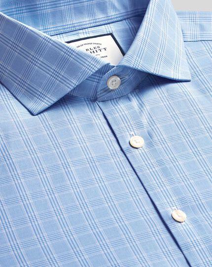 Cutaway Collar Non-Iron Prince Of Wales Check Shirt - Sky