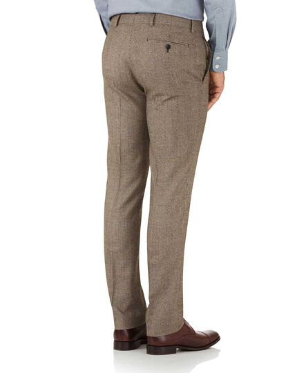 Tan check slim fit British serge luxury suit trousers