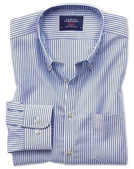 Classic fit button-down non-iron Oxford Bengal stripe royal blue shirt