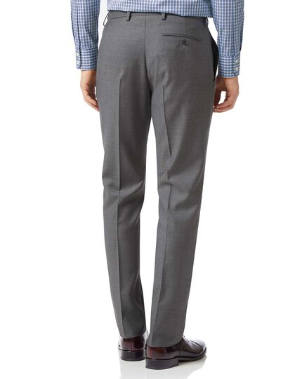 Grey slim fit twill business suit trousers