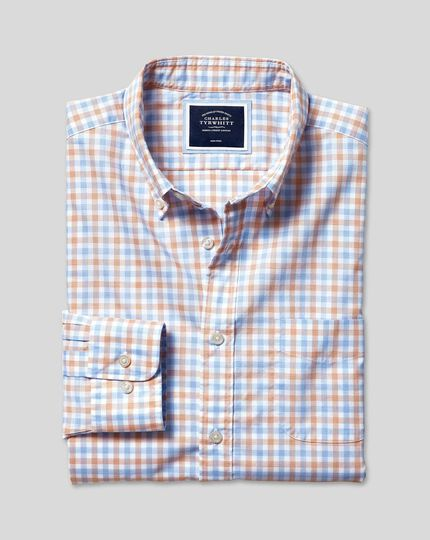 Button-Down Collar Non-Iron Stretch Poplin Gingham Shirt - Orange & Blue