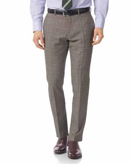 Grey slim fit British Prince of Wales check luxury suit pants