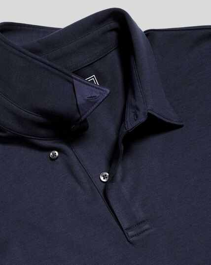 Smart Long Sleeve Jersey Polo - Navy