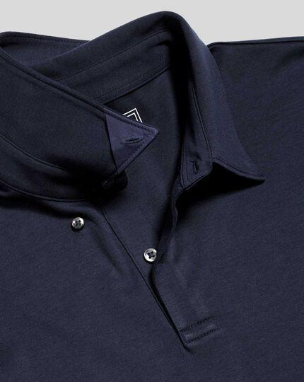 Smartes Langarm-Polo aus Jersey - Marineblau