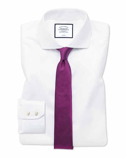 Extra slim fit white non-iron twill spread collar shirt