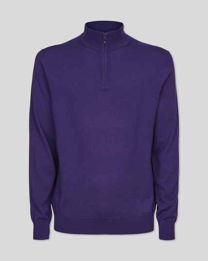 Merino Zip Neck Jumper - Purple