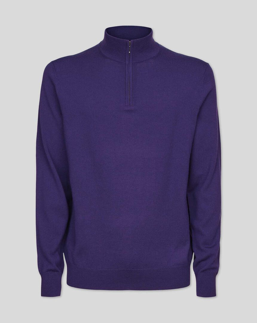Merino Zip Neck Sweater - Purple
