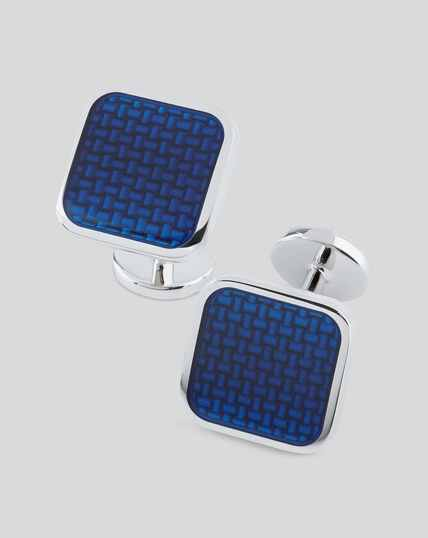 Enamel Square Cufflinks - Blue